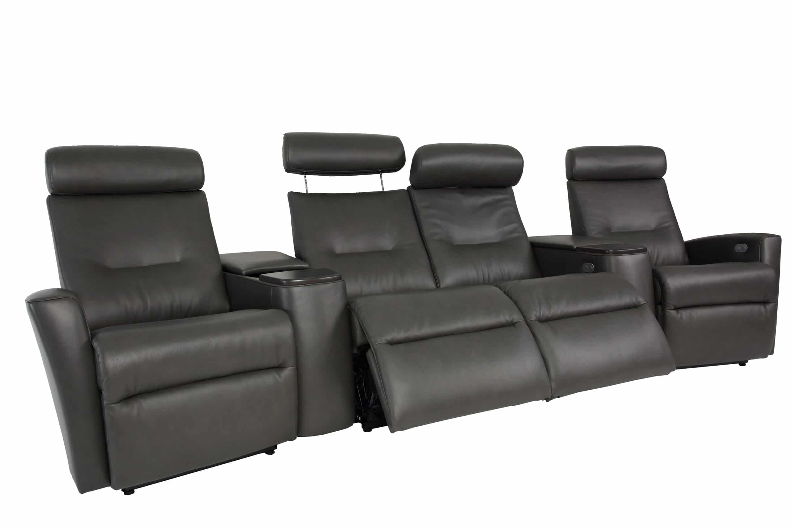 Madrid Cinema Power Reclining Sofa In AL Slate Leather