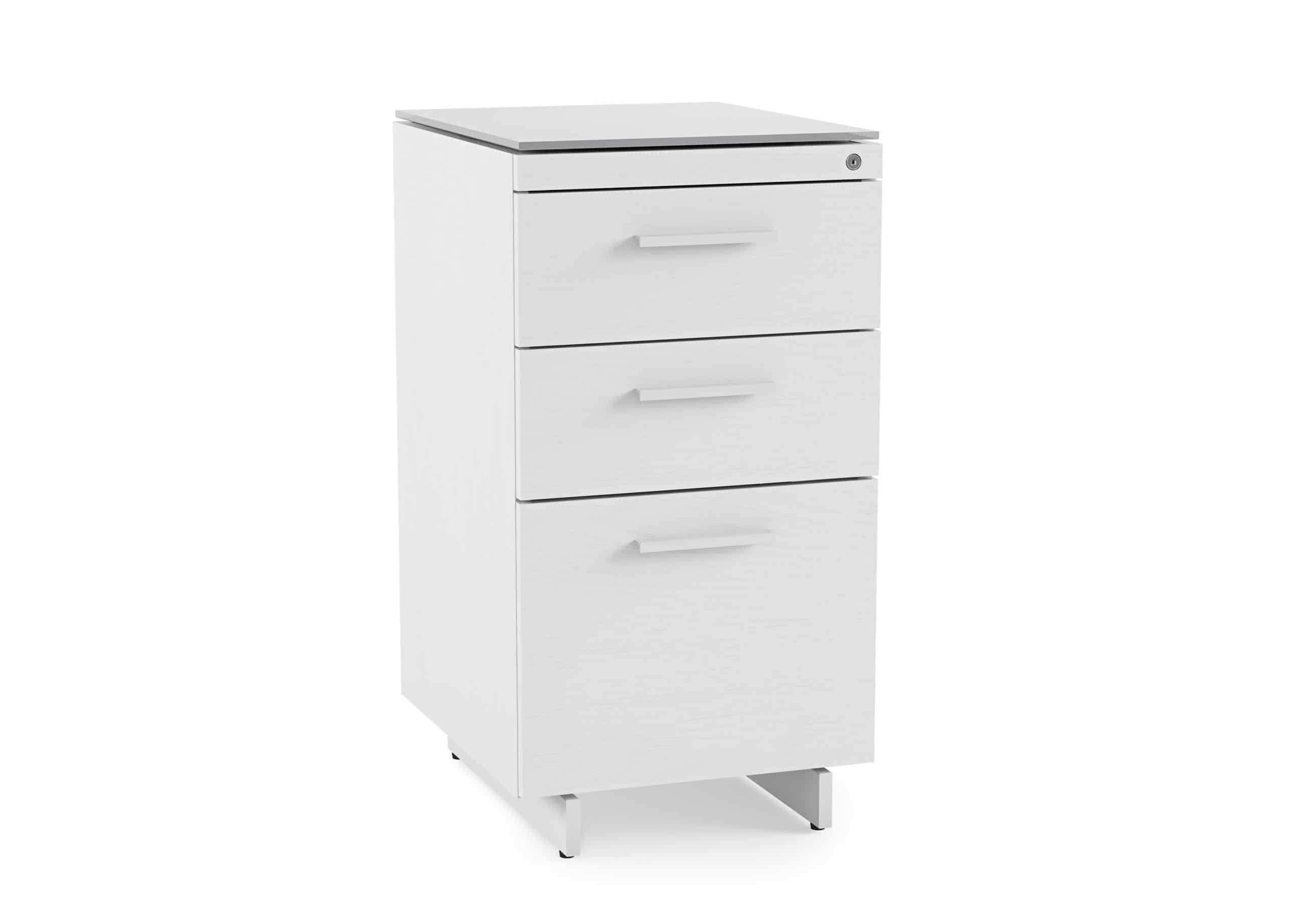 Centro 6414 White 3-Drawer File Cabinet | BDI Furniture