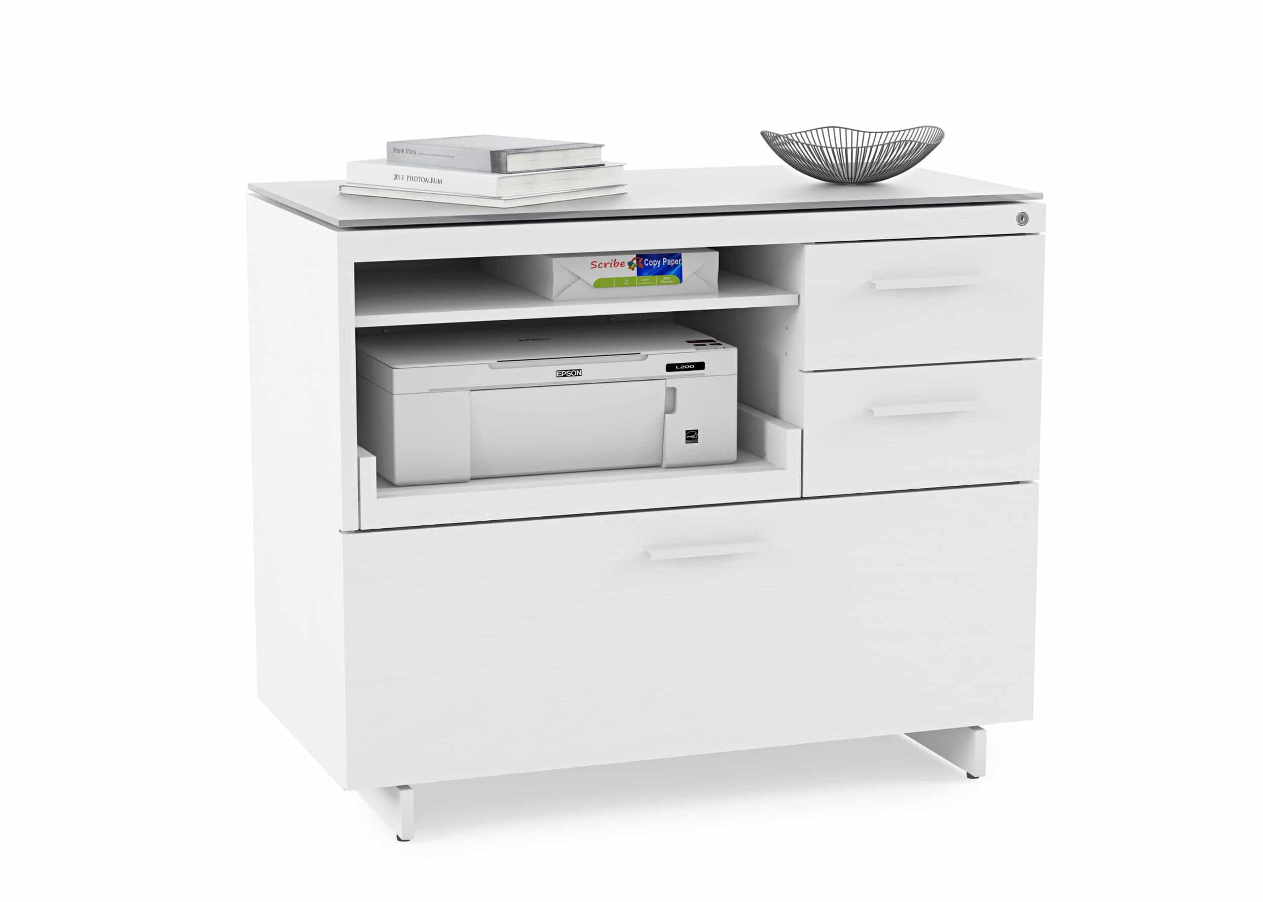 Centro 6417 White Multifunction Office Cabinet | BDI Furniture