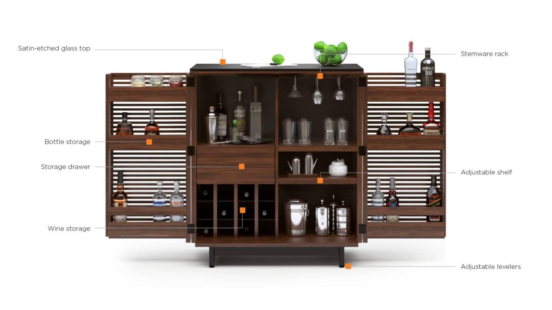 Corridor 5620 Modern Home Bar Cabinet Bdi Furniture West Avenue Furniture